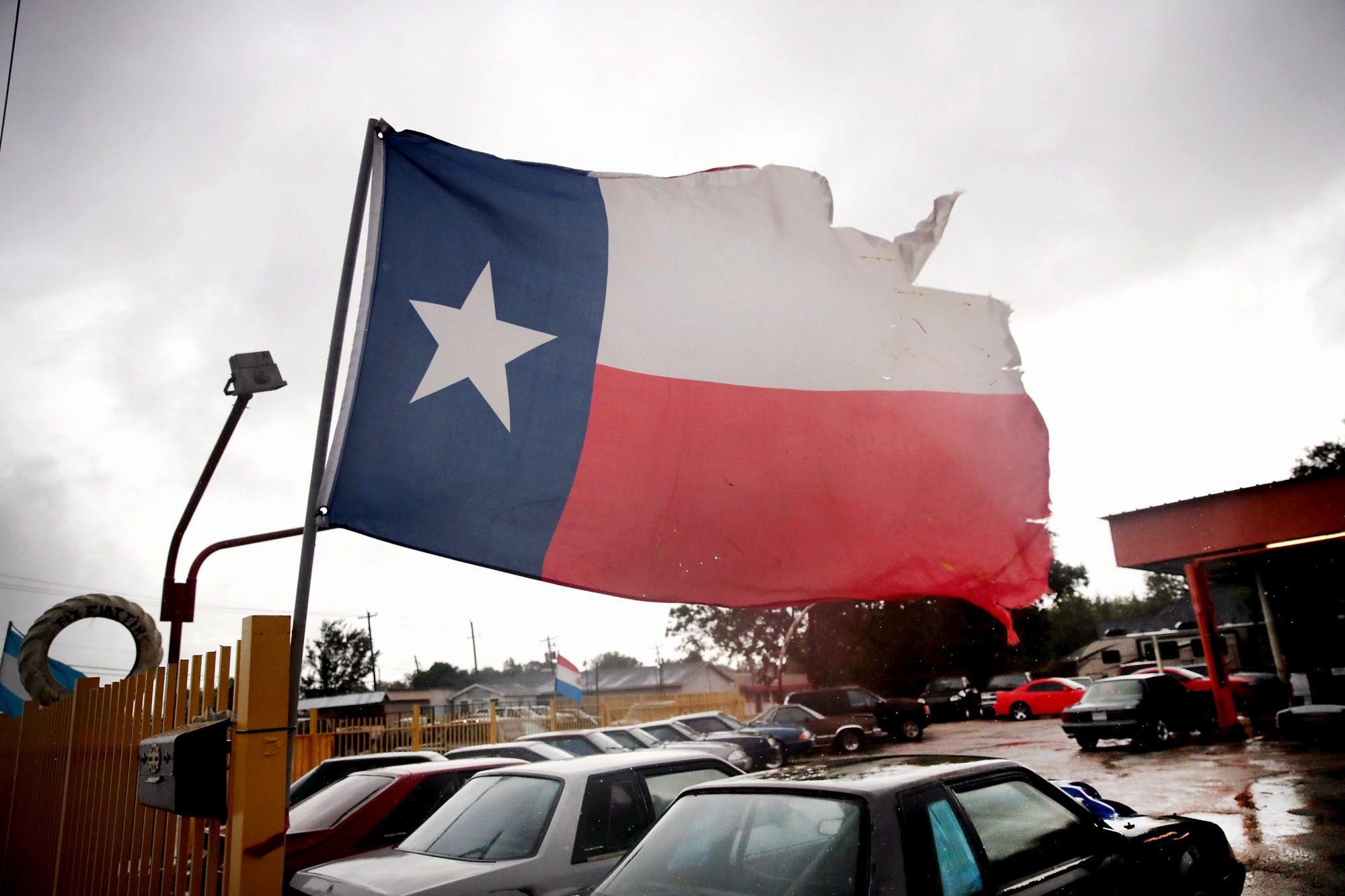 battered texas flag after harvey