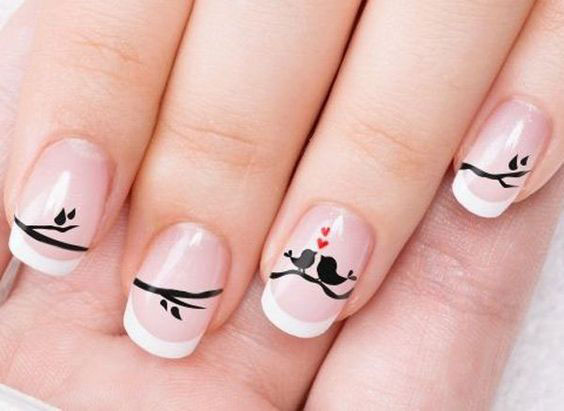 25 valentines day nail designs youll love southern living love birds prinsesfo Choice Image