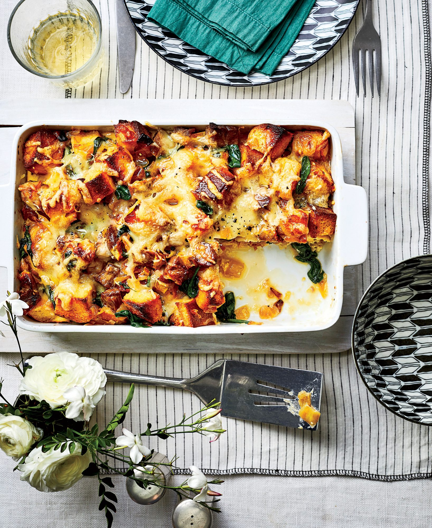 Caramelized Onion, Spinach, and Pork Strata