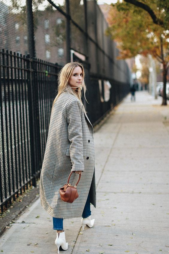 Oversized Glen Plaid Coat with White Leather Booties