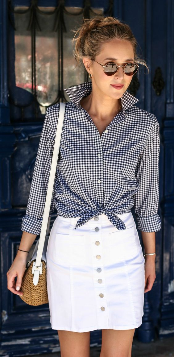 Preppy Gingham Button Up with White Denim Skirt