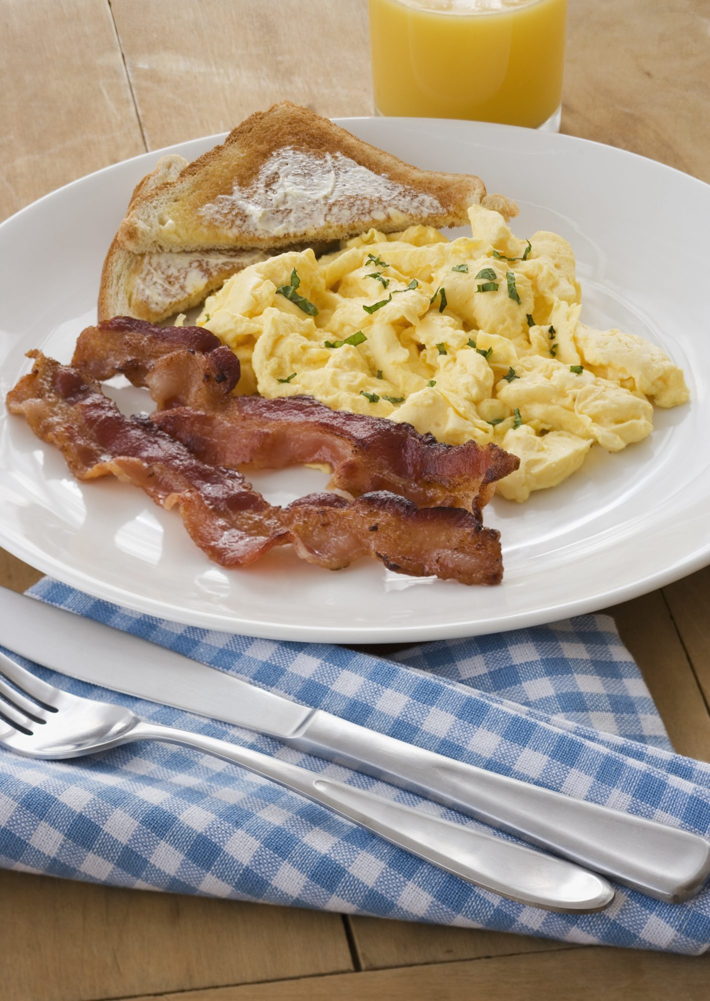 Scrambled Eggs, Bacon, and Toast for Breakfast