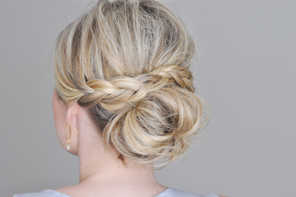 RX_1801_Gorgeous Low Bun Hairstyles_Messy Bun with a Braided Wrap