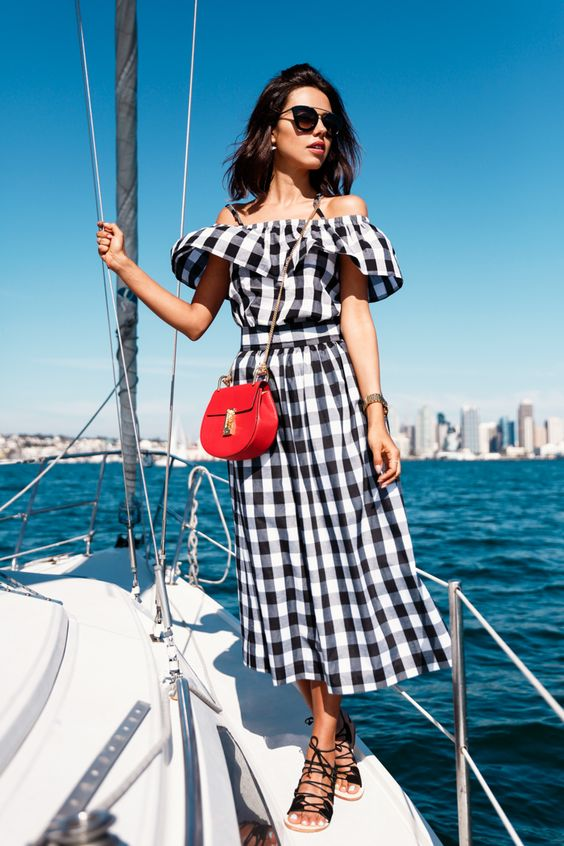 Off Shoulder Gingham Dress with Red Accents
