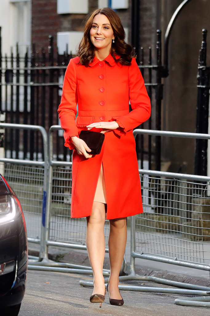 Kate Middleton Red Coat No Engagement Ring