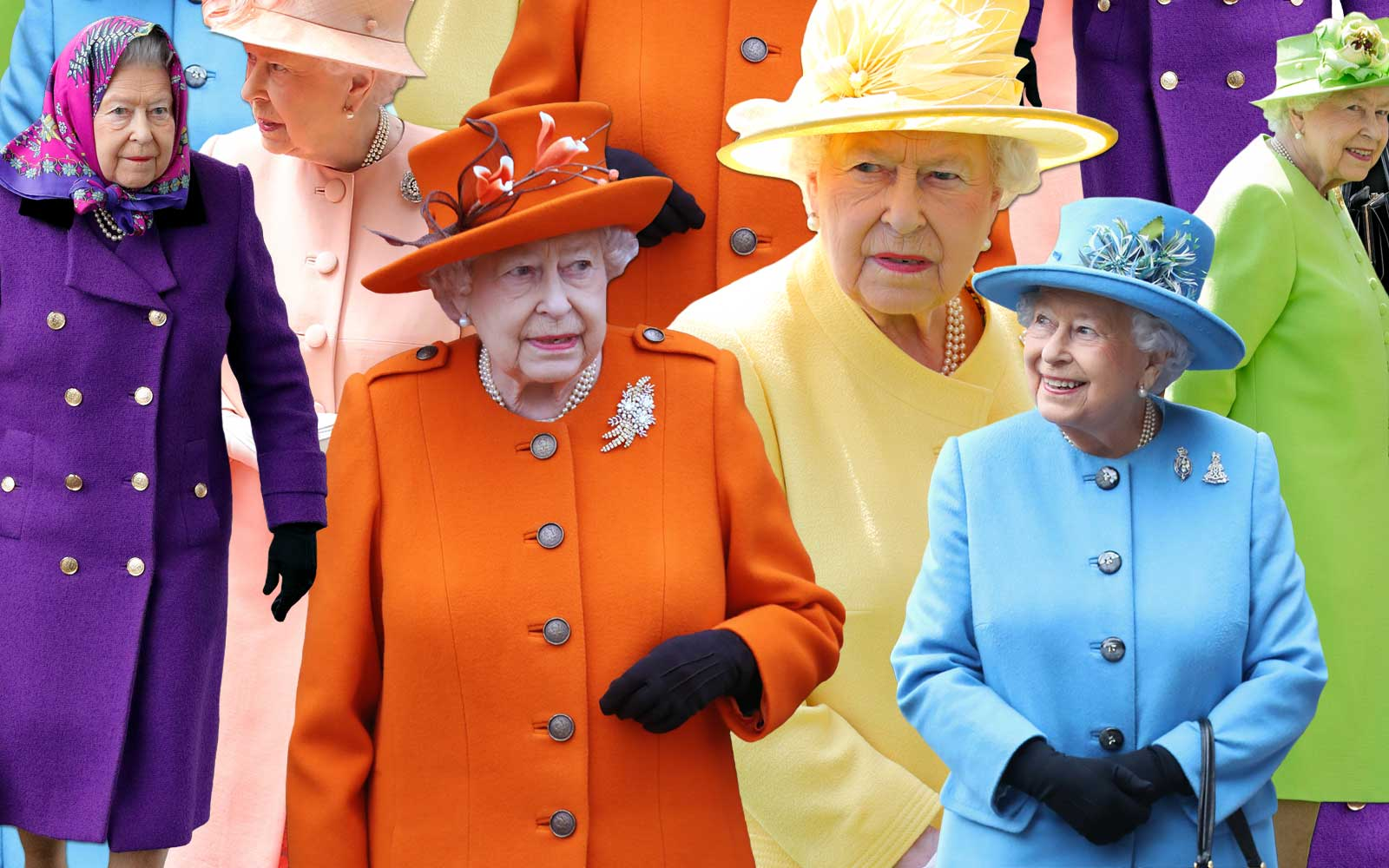 Queen Elizabeth II in bright colored outfits