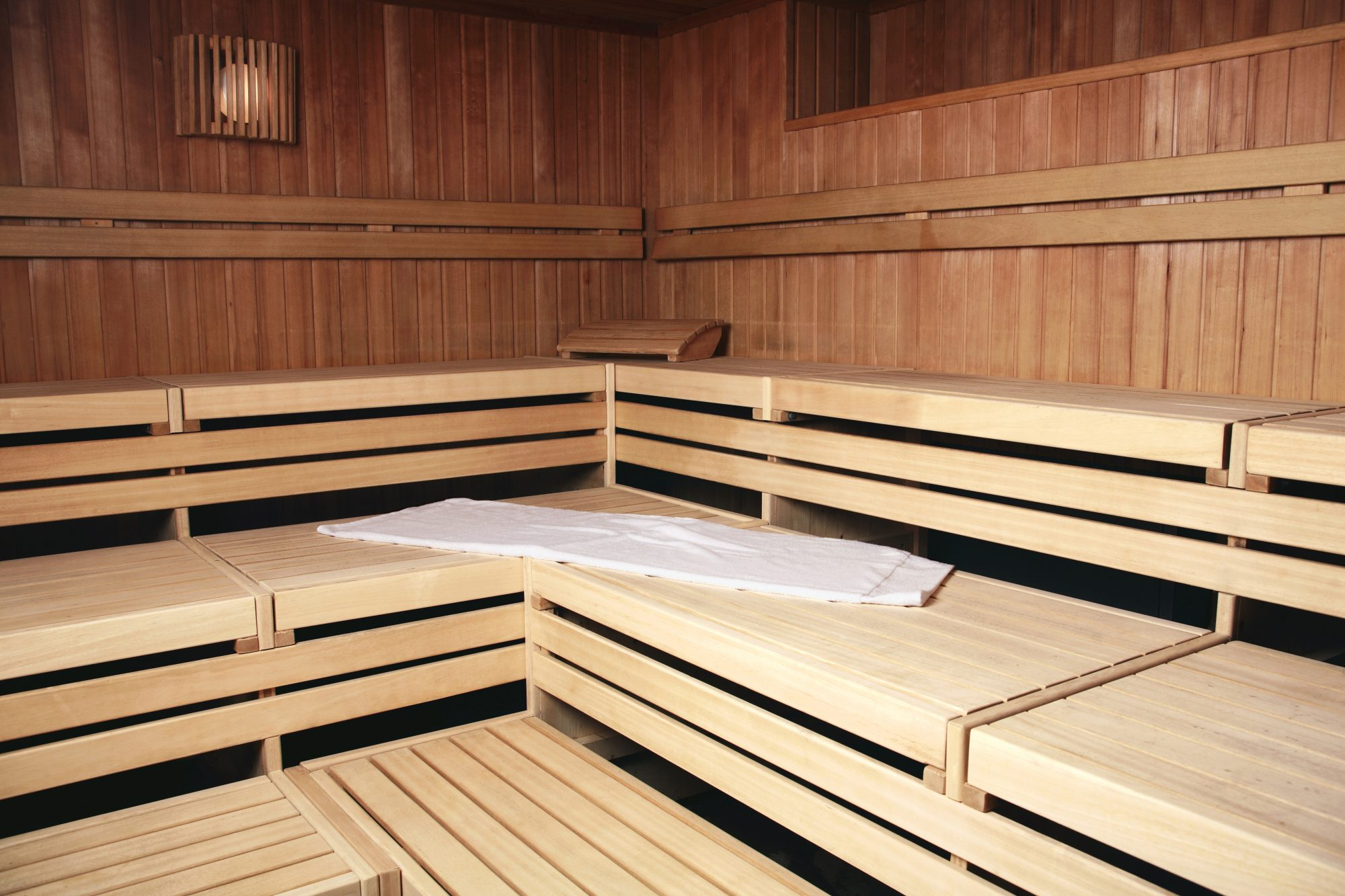 Benches in wooden sauna