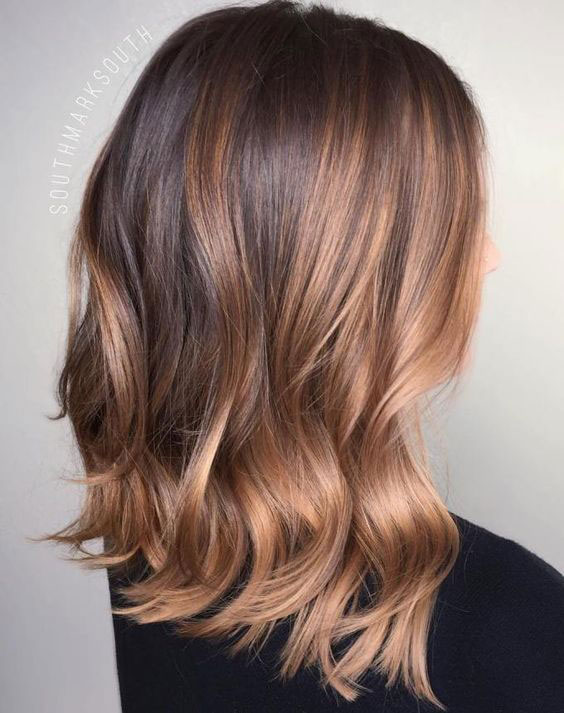 Brunette Lob with Rose Gold Balayage