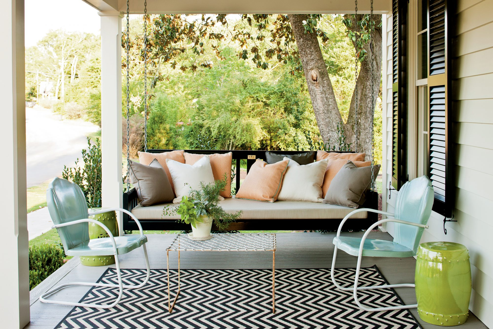 Elegant Black Porch Swing