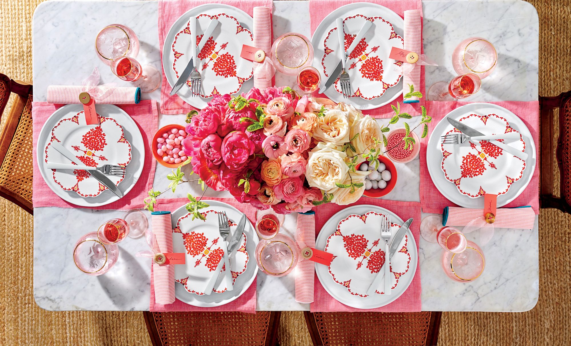 Pink Peony and Pops of Orange Tablescape for Easter