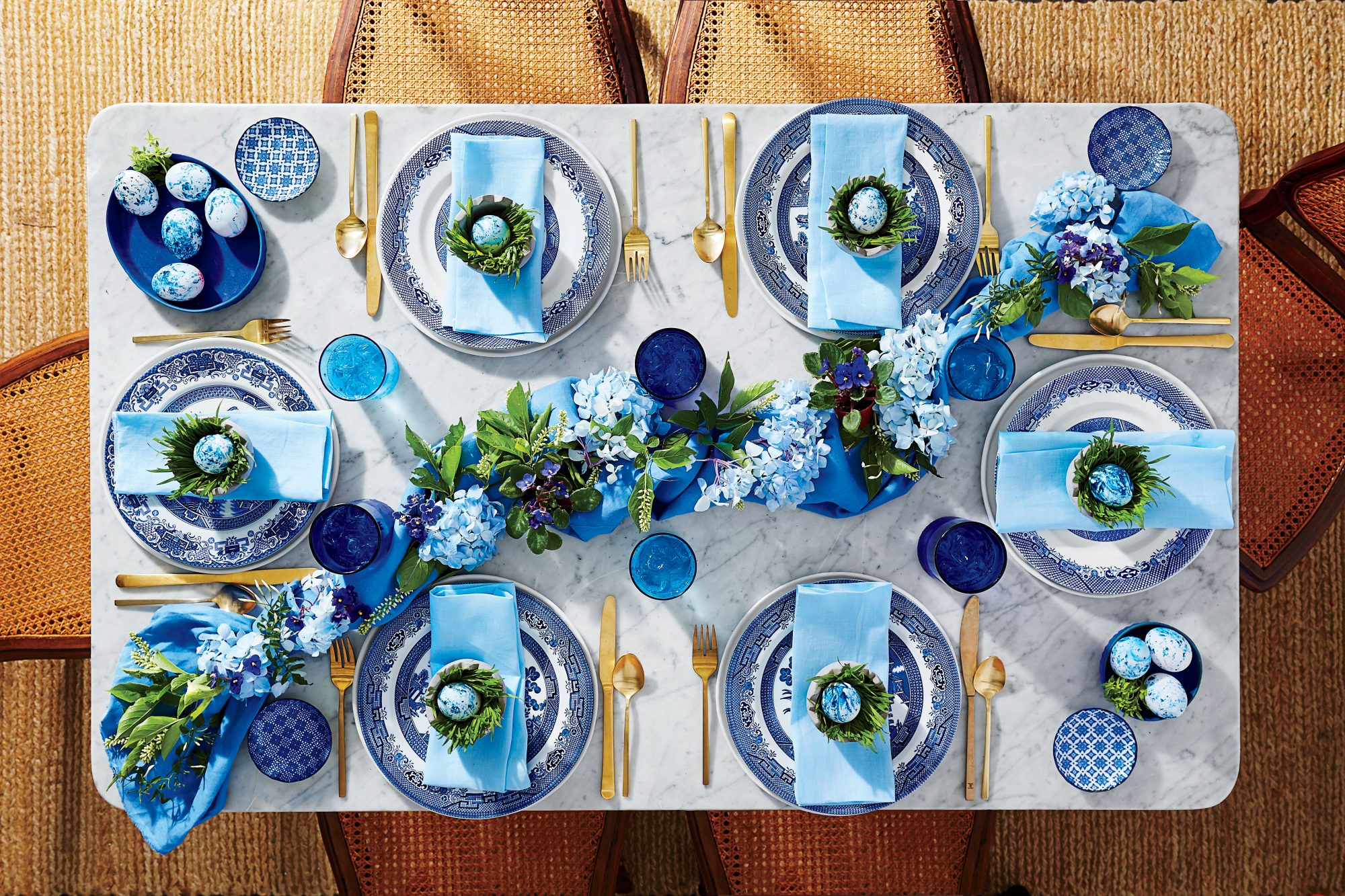 Blue and White China why Hydrangea Blooms Set for Easter