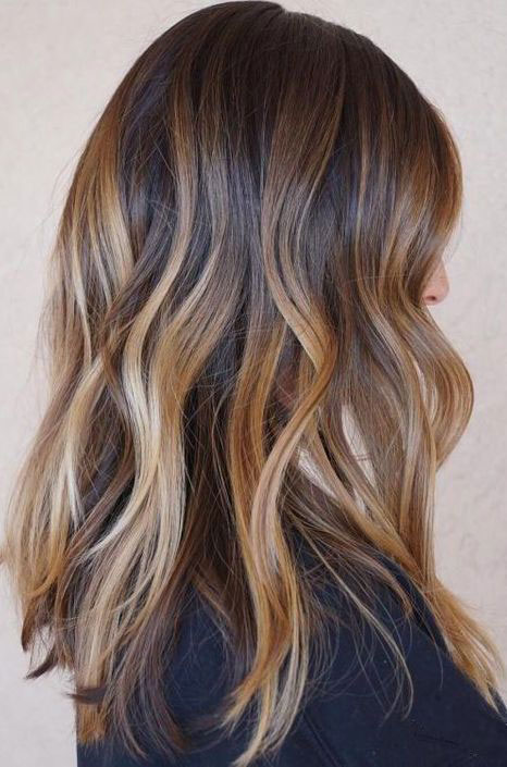 Warm Chestnut with Rich Caramel-Butter Balayage
