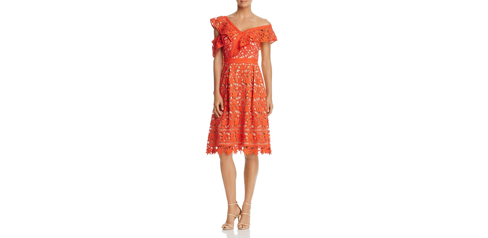 cold-shoulder-lace-orange-dress