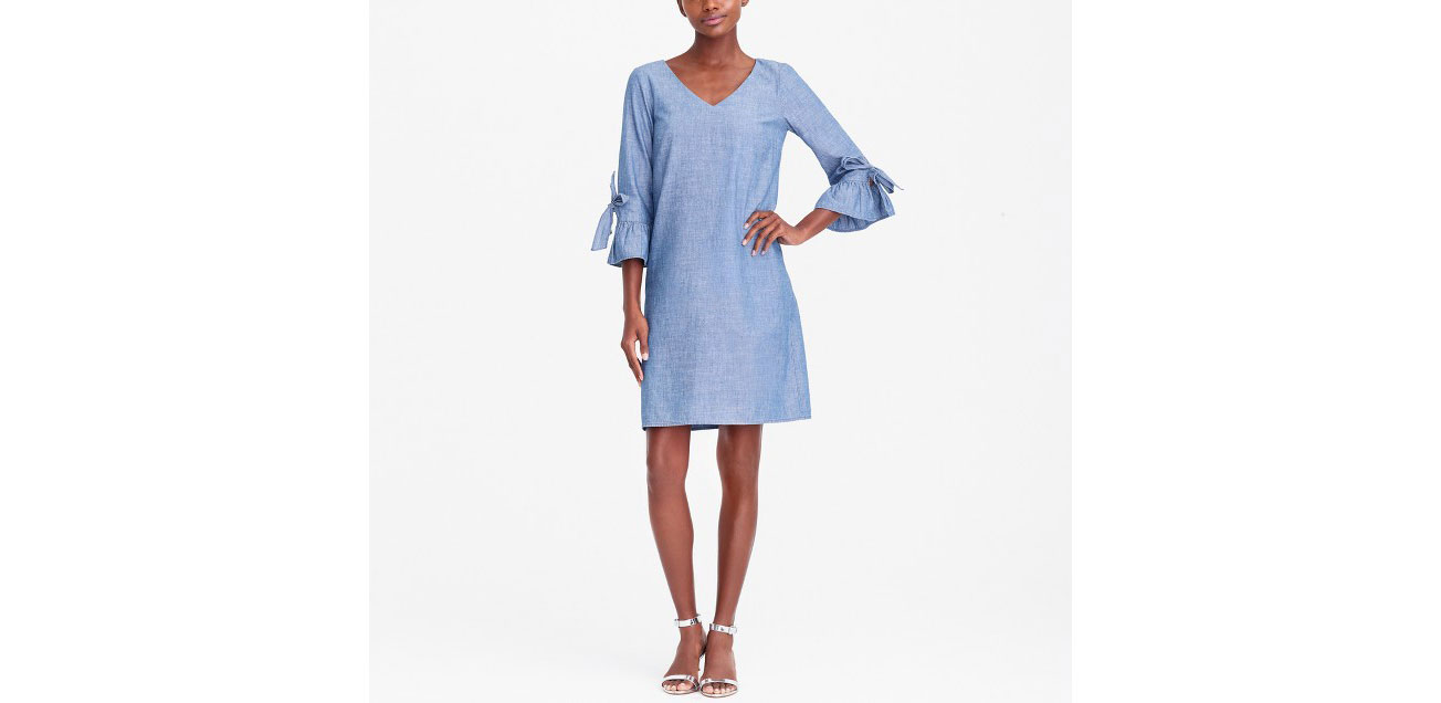 Chambray Ruffle Tie-Sleeve Dress