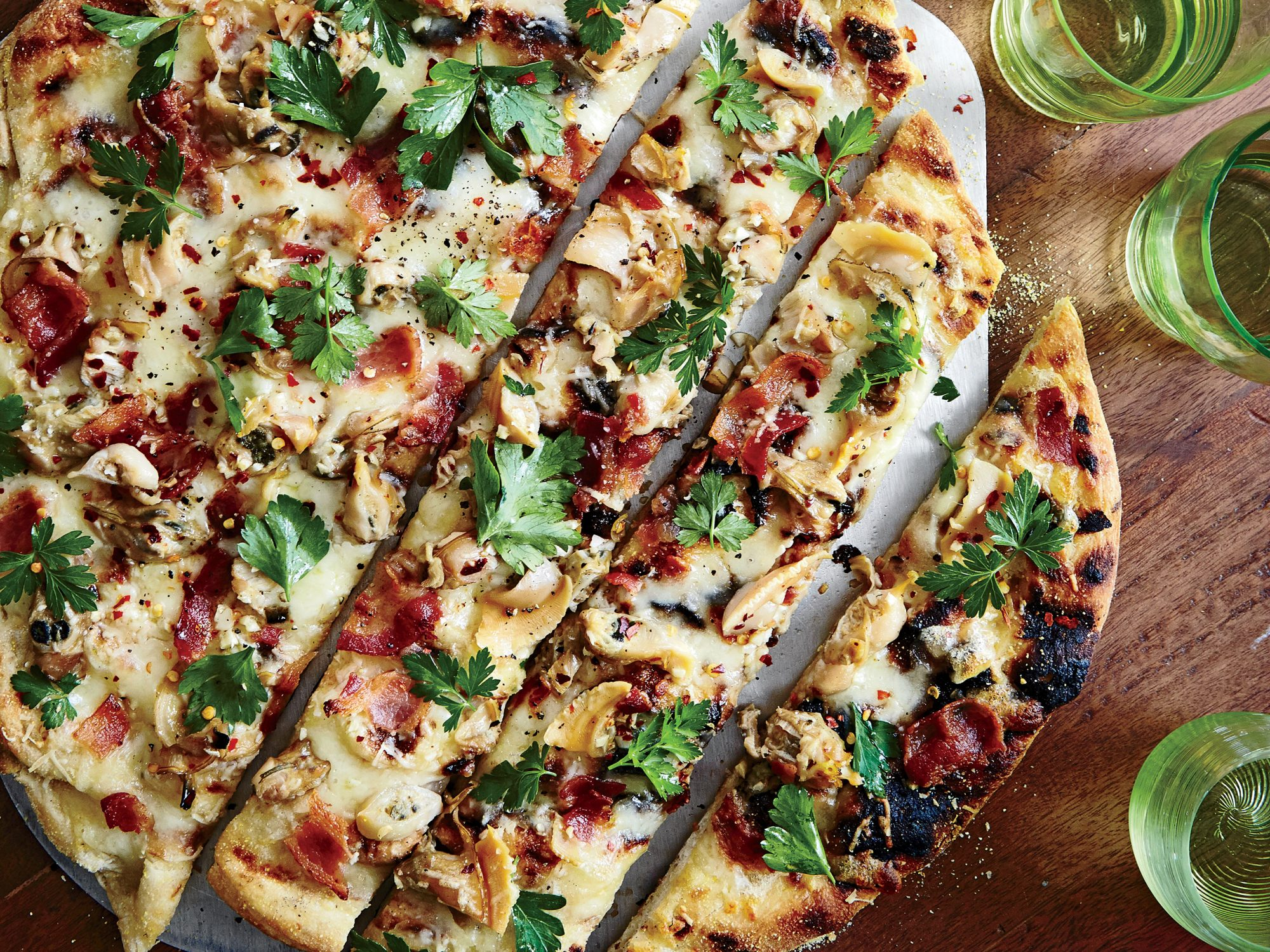 Grilled White Pizza with Clams and Bacon