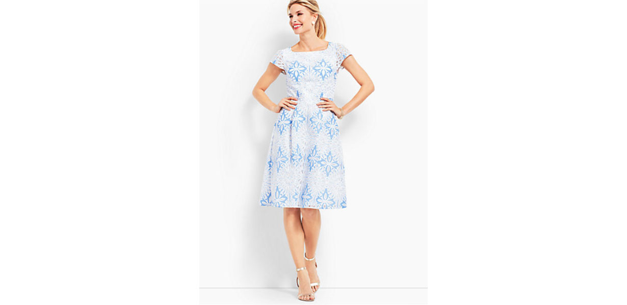 Flower Lace Jacquard Fit & Flare Dress