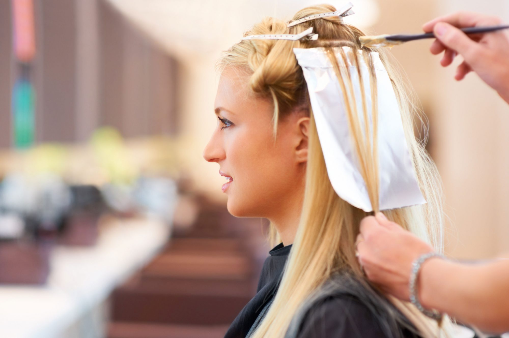 Blonde Woman Getting Highlights