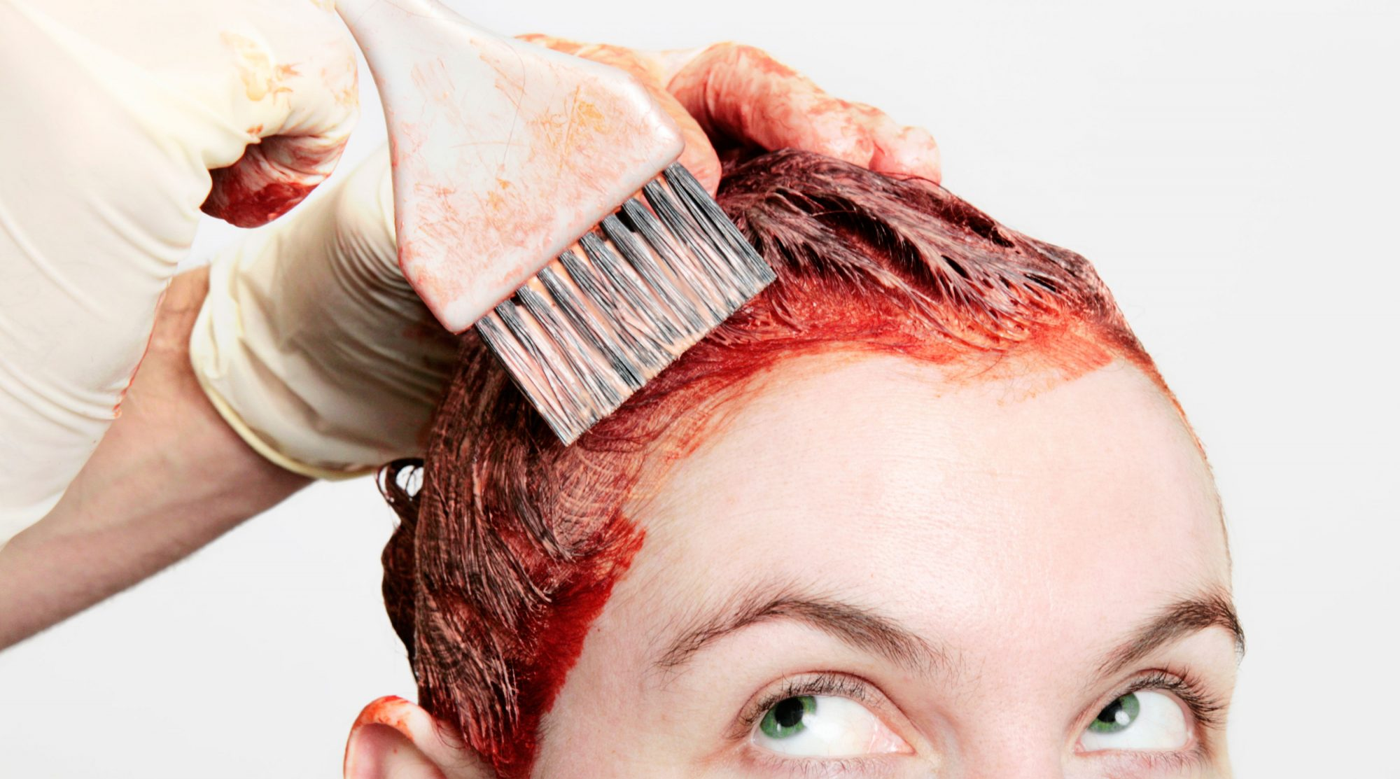 Woman Dying Hair Red