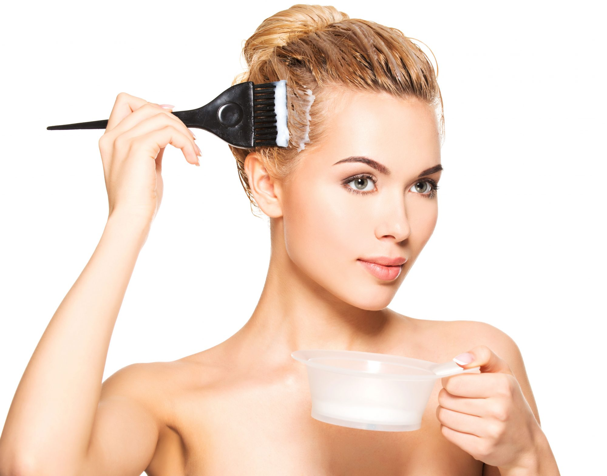 Woman Applying Hair Color Root Touch Up