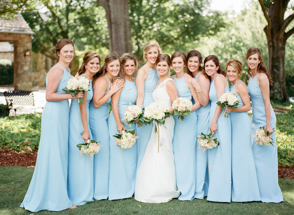 Spring Bridesmaids Wearing Pastel Blue