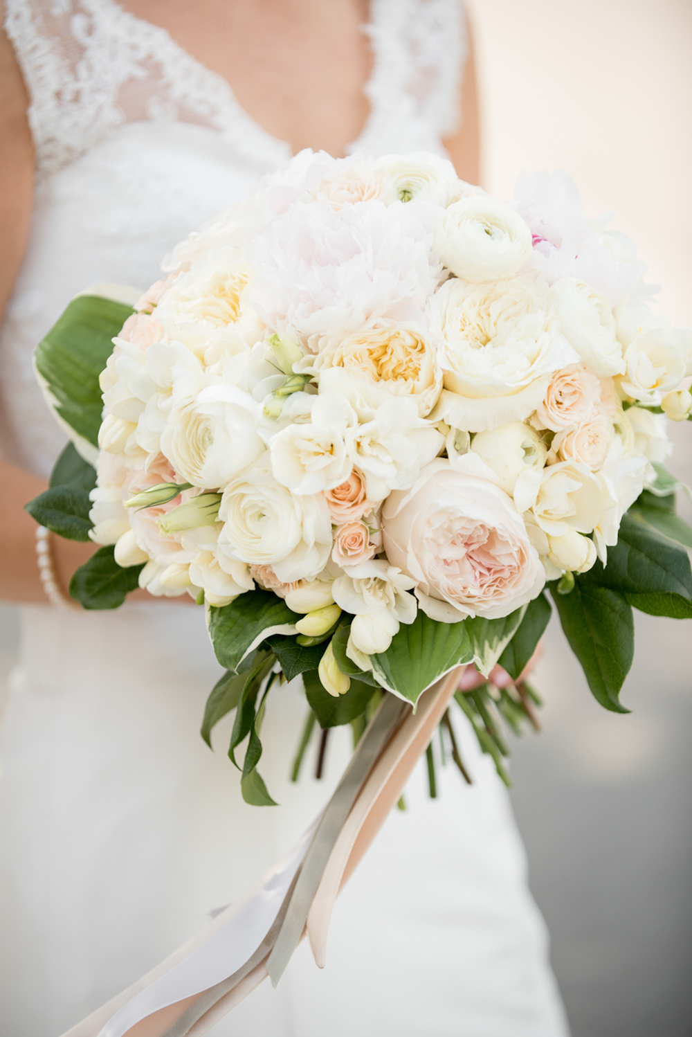 Bridal White Bouquet with a Hint of Blush