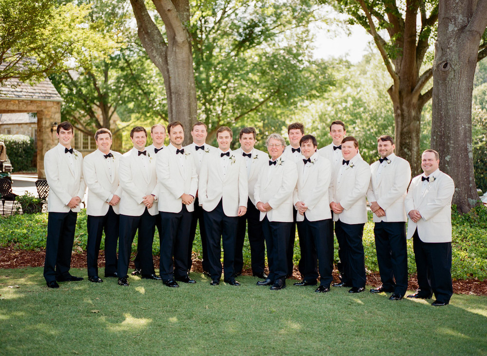 Groomsmen in White Dinner Jackets