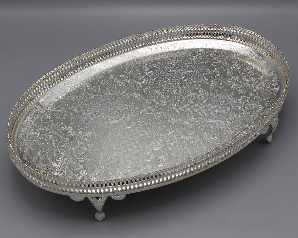 Large Silver-Plated Oval Serving Tray With Legs
