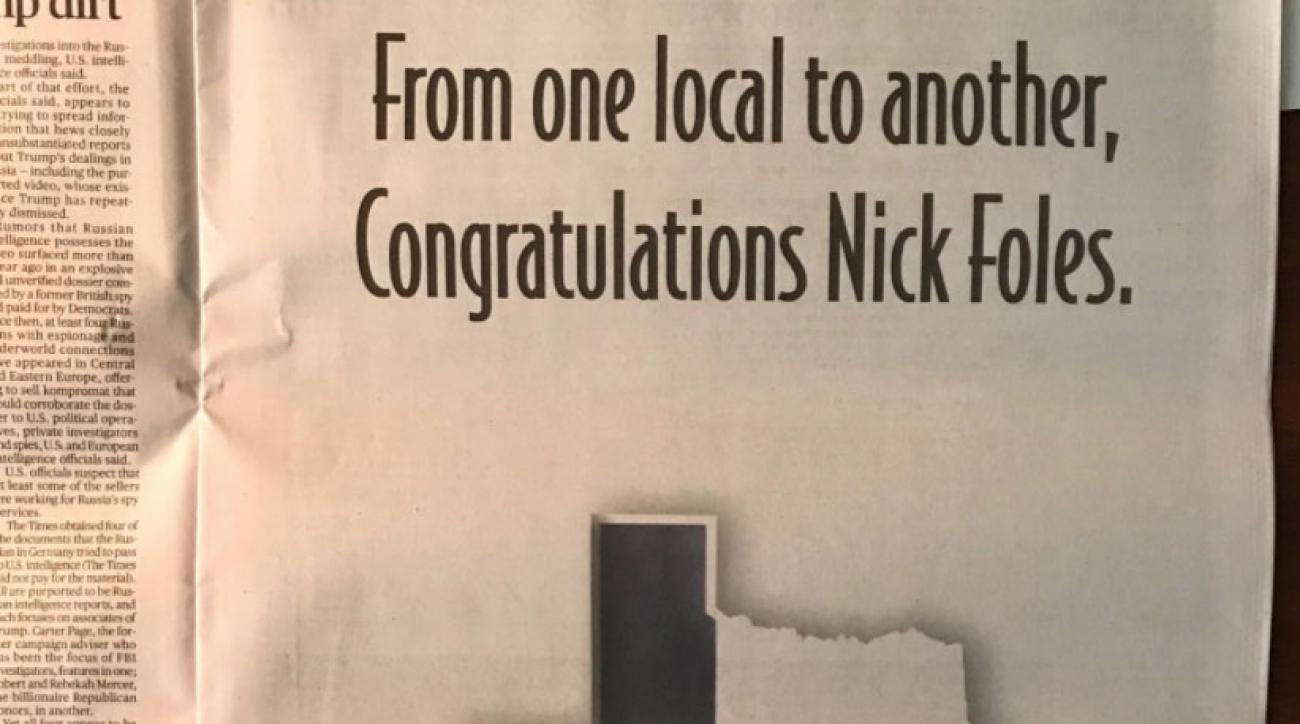 Look: Matthew McConaughey Takes Out Full-Page Newspaper Ad for Nick Foles