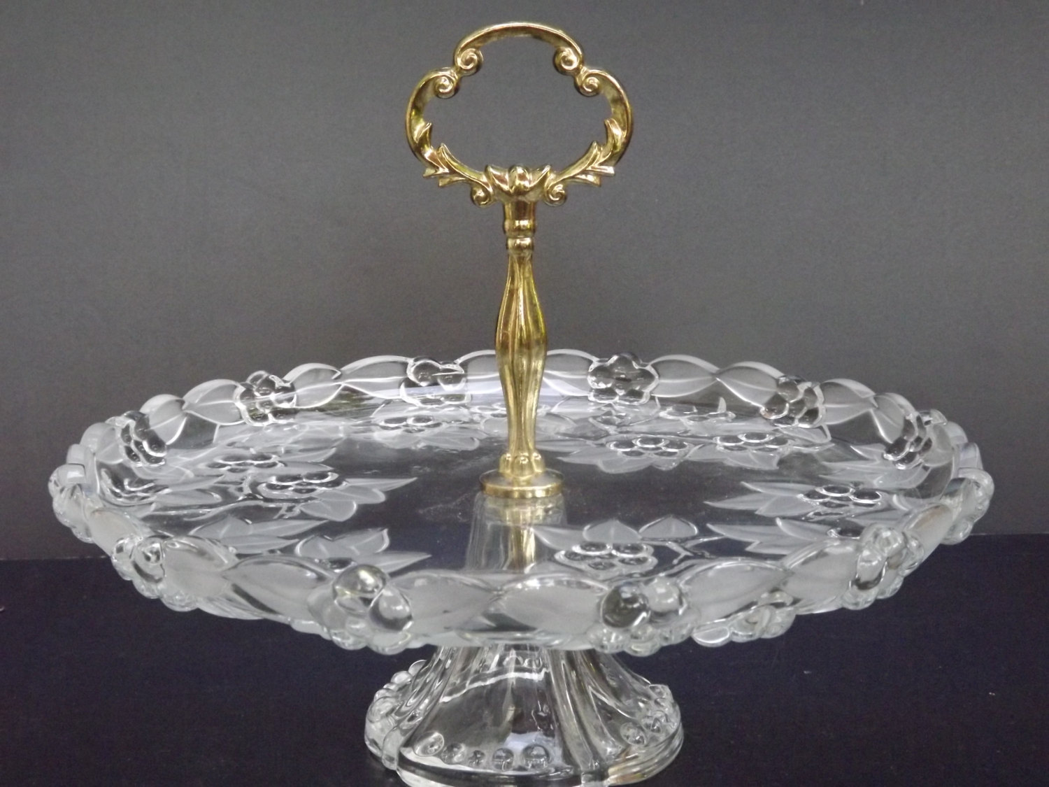 Mikasa Poinsettia Frosted Glass Serving Tray