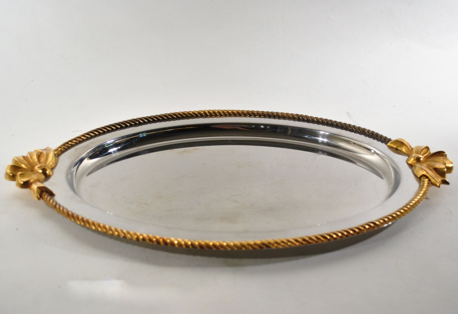 Oneida Stainless Steel Serving Tray With Gold Ribbons