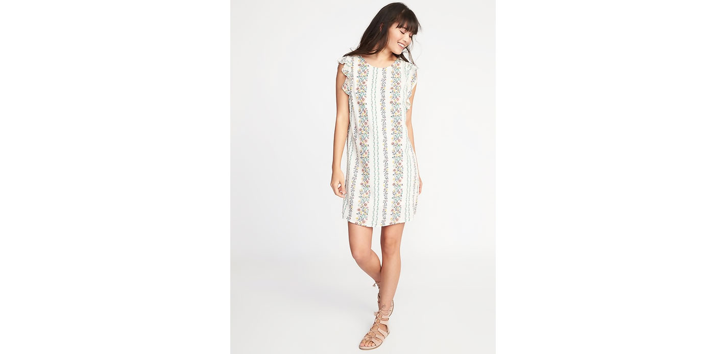 Ruffle-Trim Shift Dress