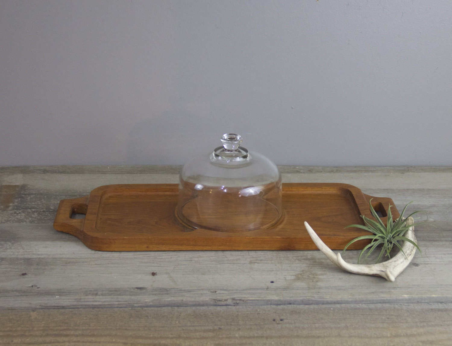 Teak Serving Tray With Glass Dome