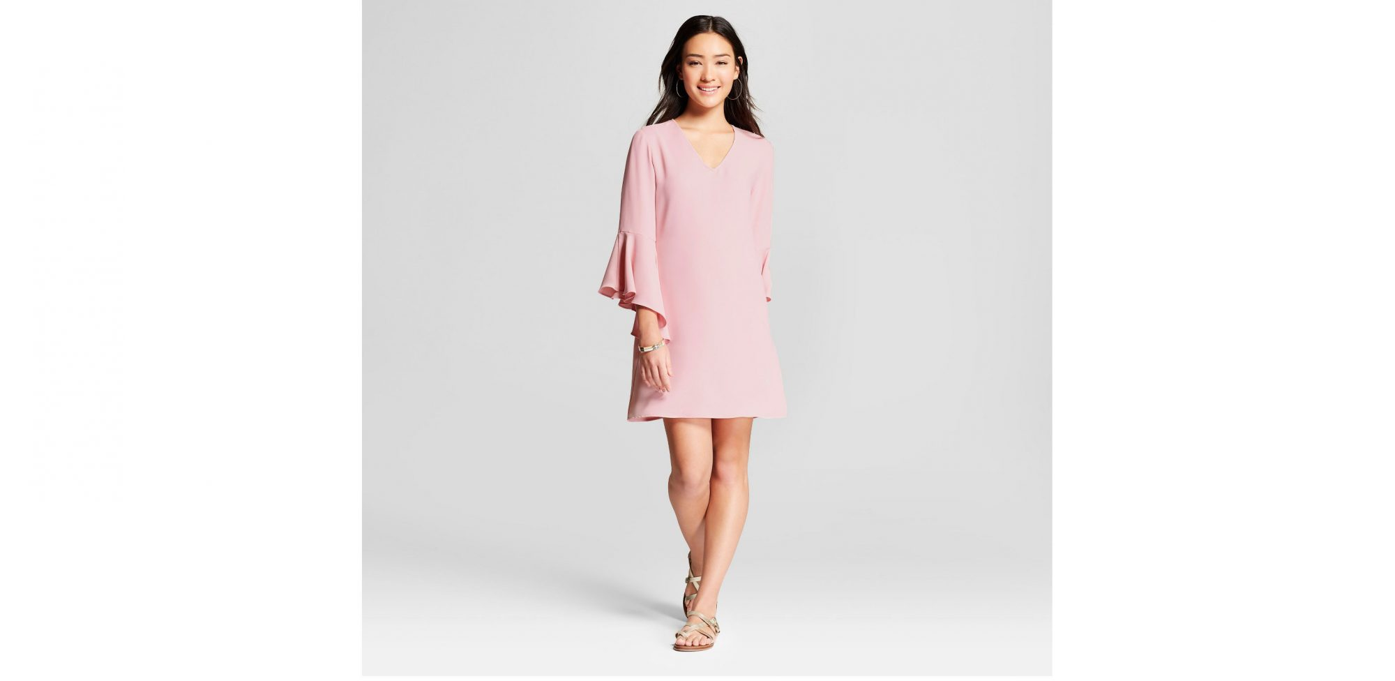 bell-sleeve-pink-dress