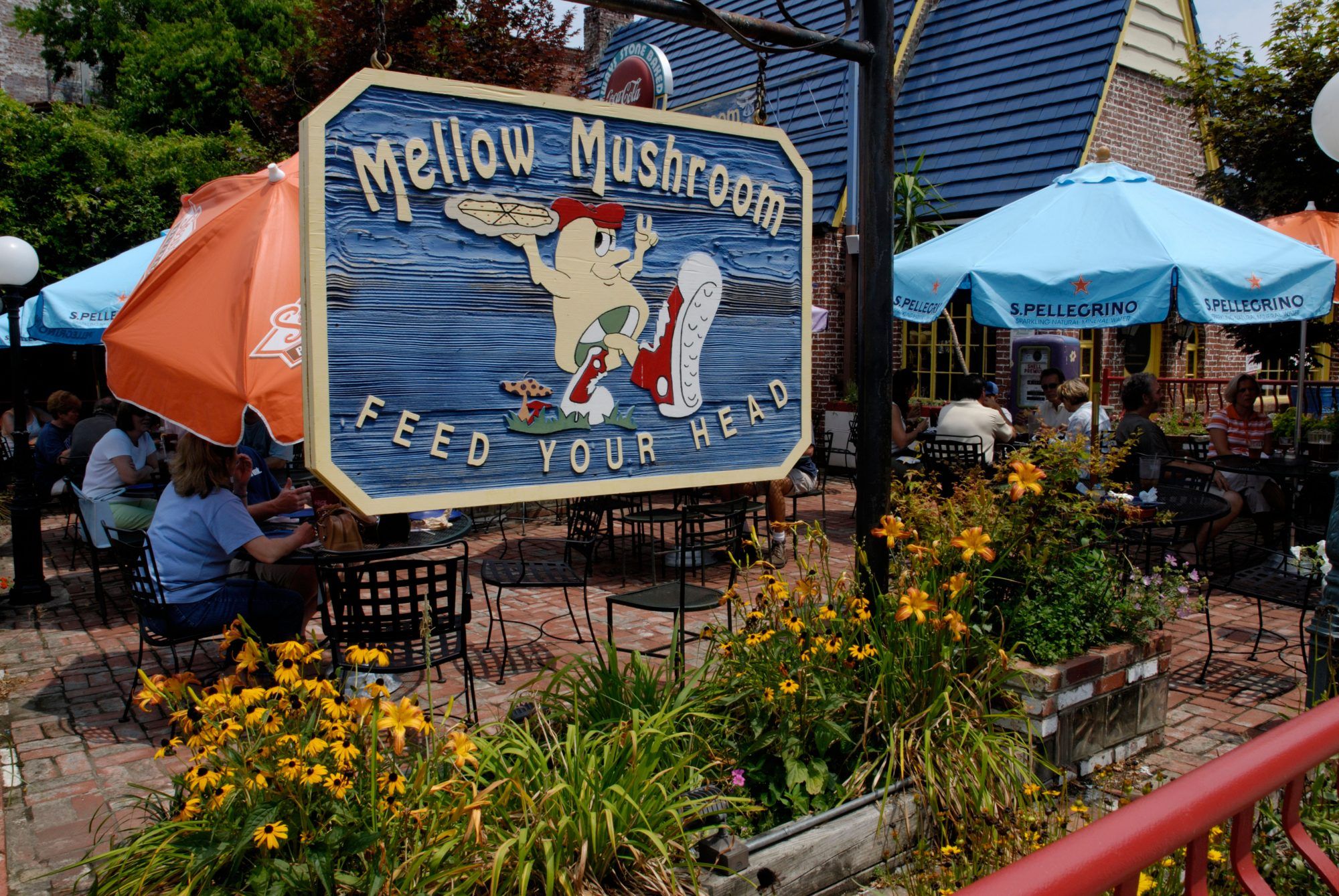 Mellow Mushroom pizza restaurant, a landmark establishment in Asheville, North Carolina