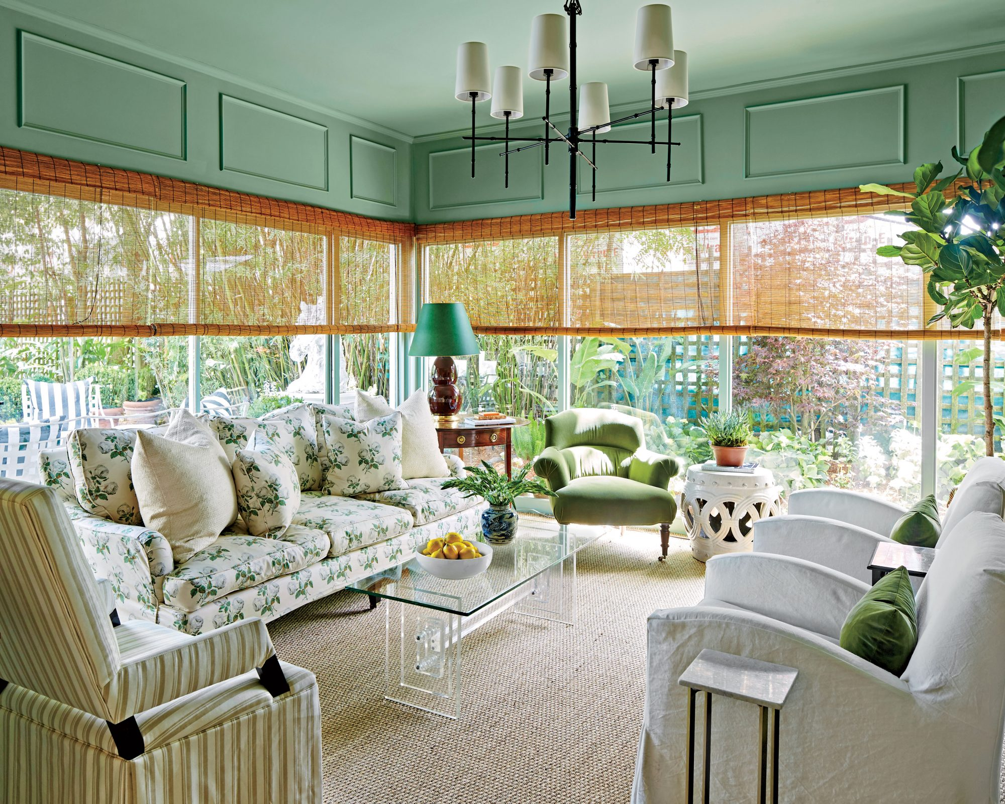 Sage green is the new neutral southern living - Sage green living room ...