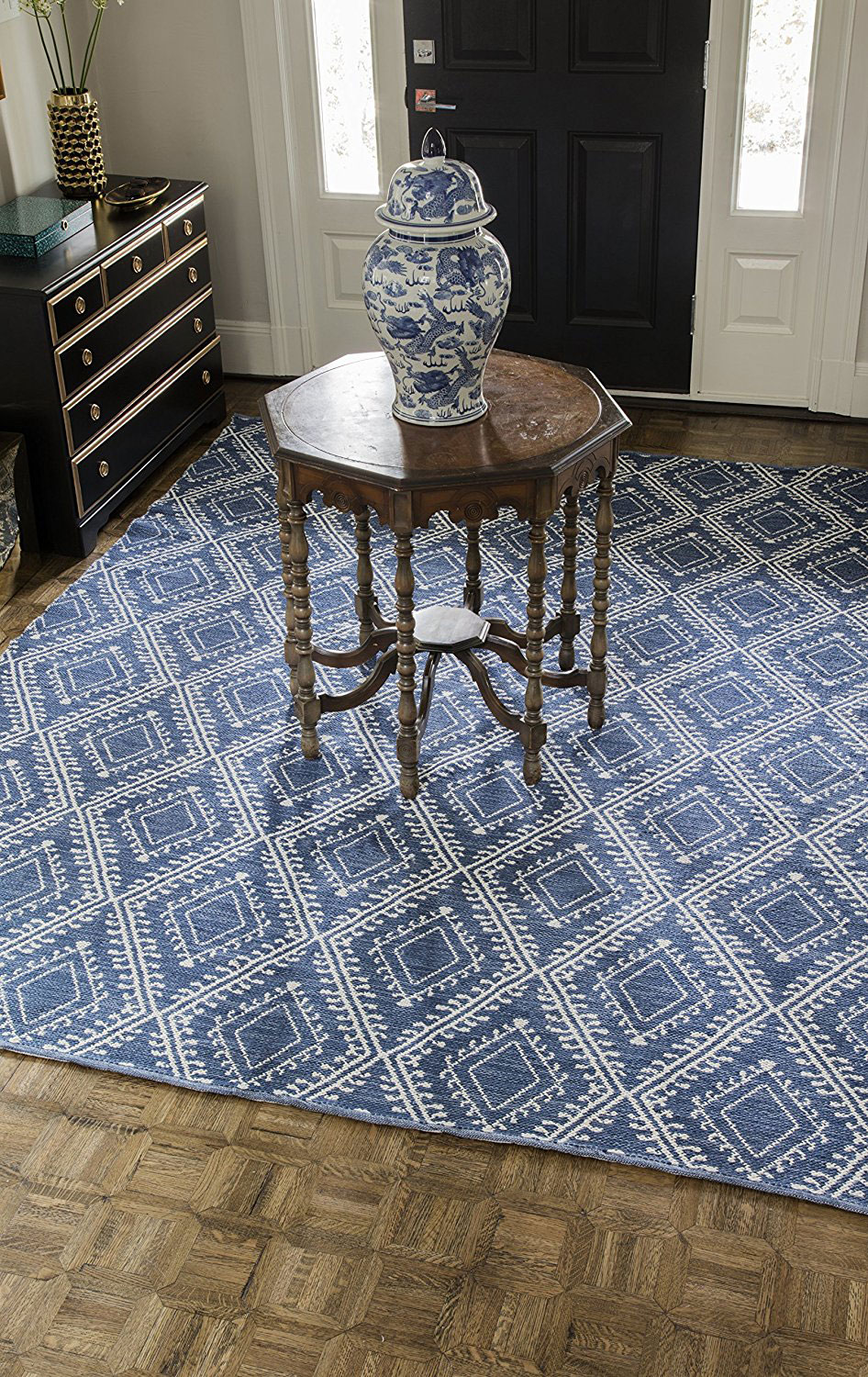 Erin Gates Easton Collection Pleasant Indoor Outdoor Hand Woven Area Rug 5' x 7'6 , Navy Blue