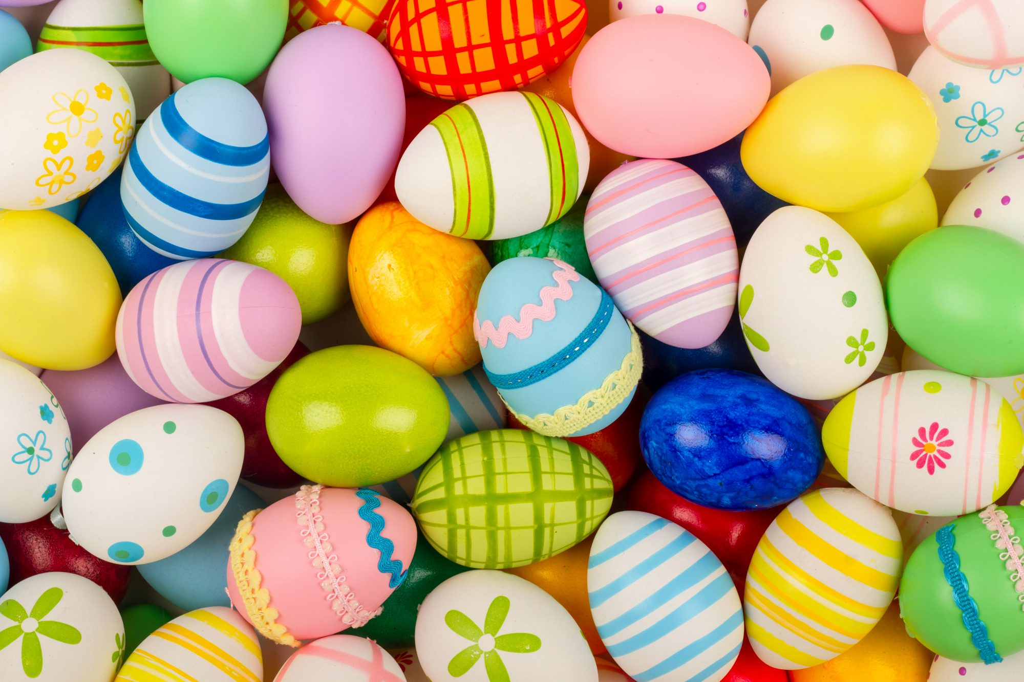 A colorful collection of patterned easter eggs