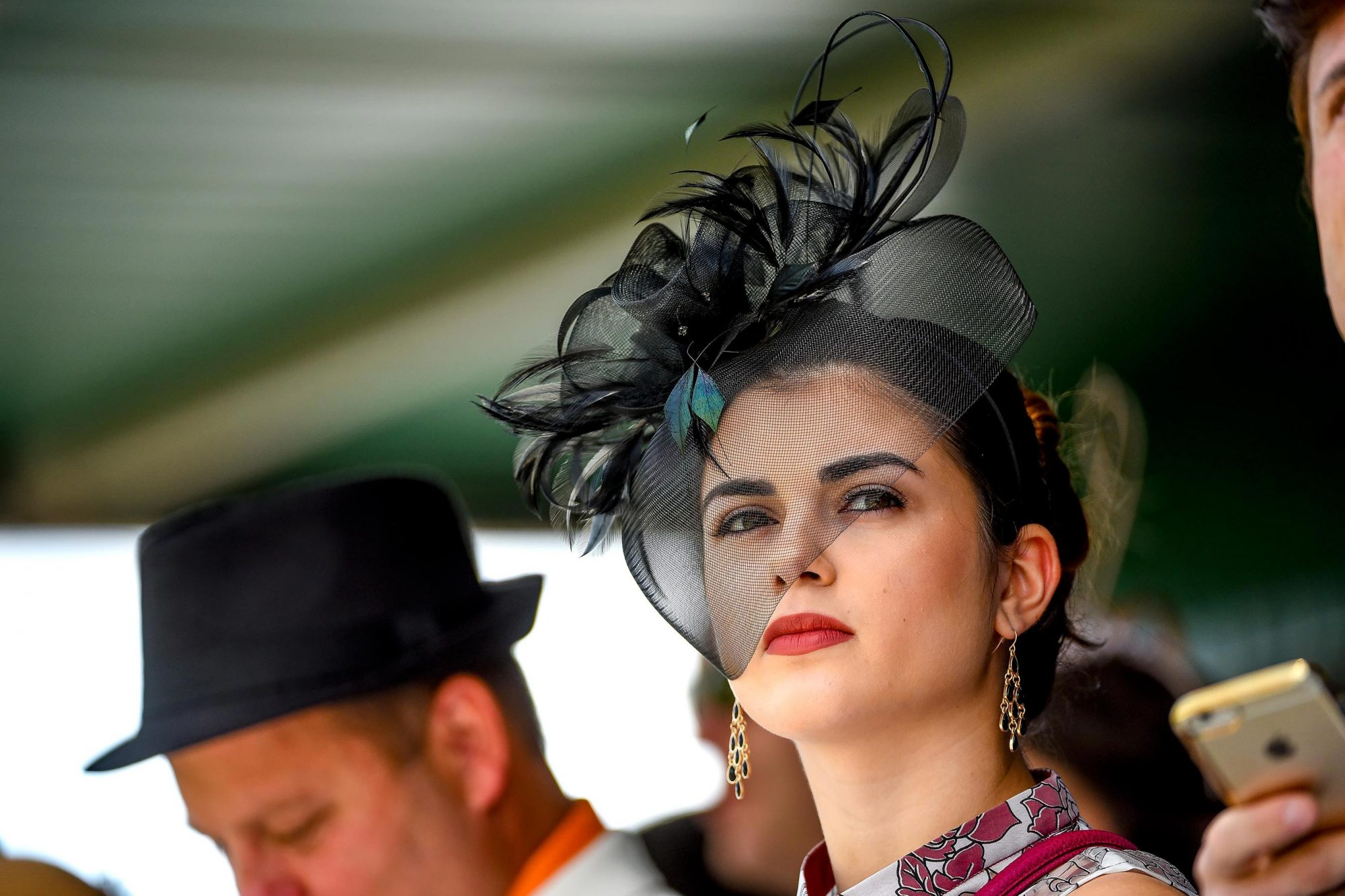A woman wears a fascinator on Kentucky Derby Day