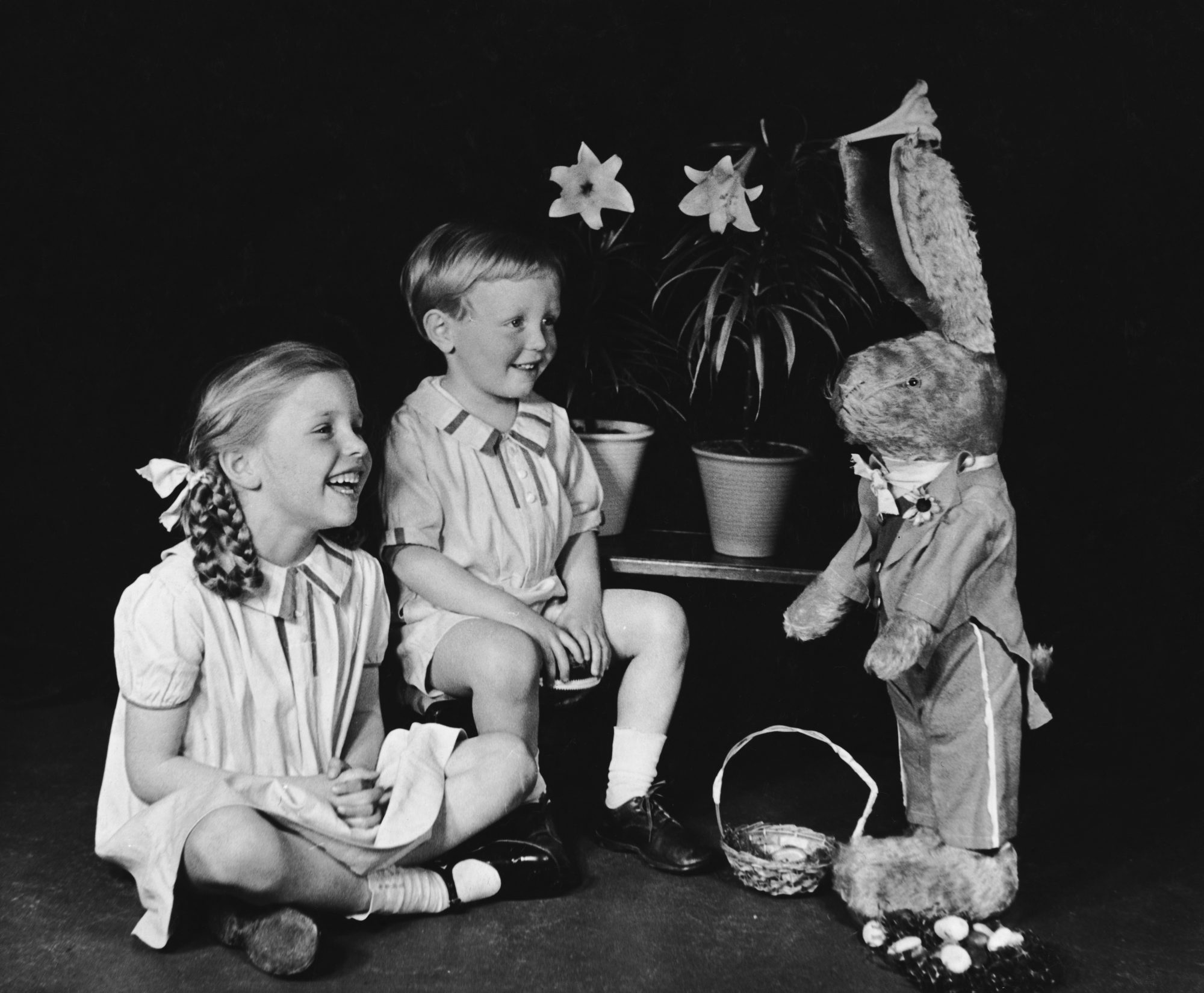 Kids with Easter Basket and Bunny