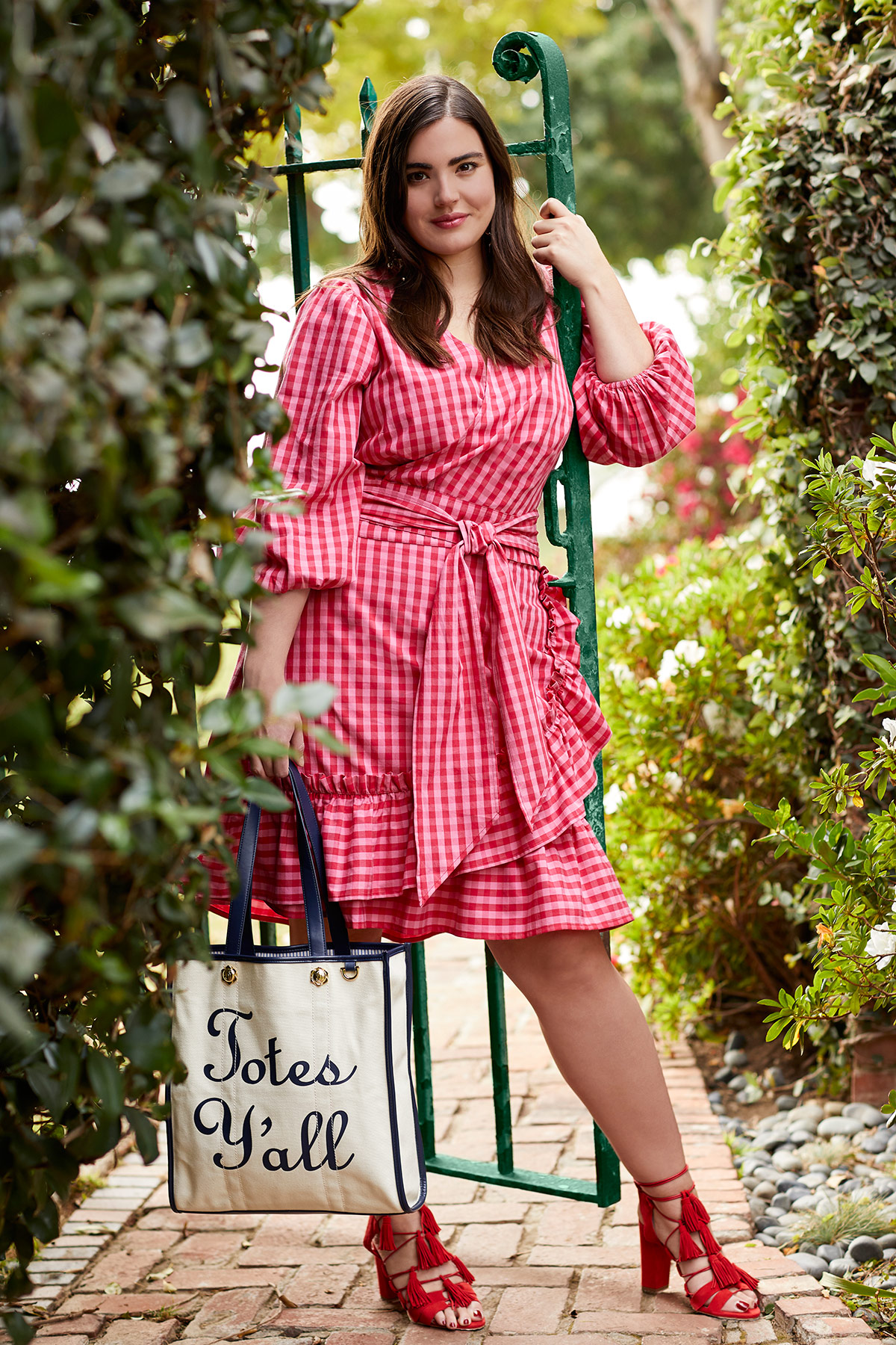Gingham 3/4 Sleeve Wrap Top and Skirt