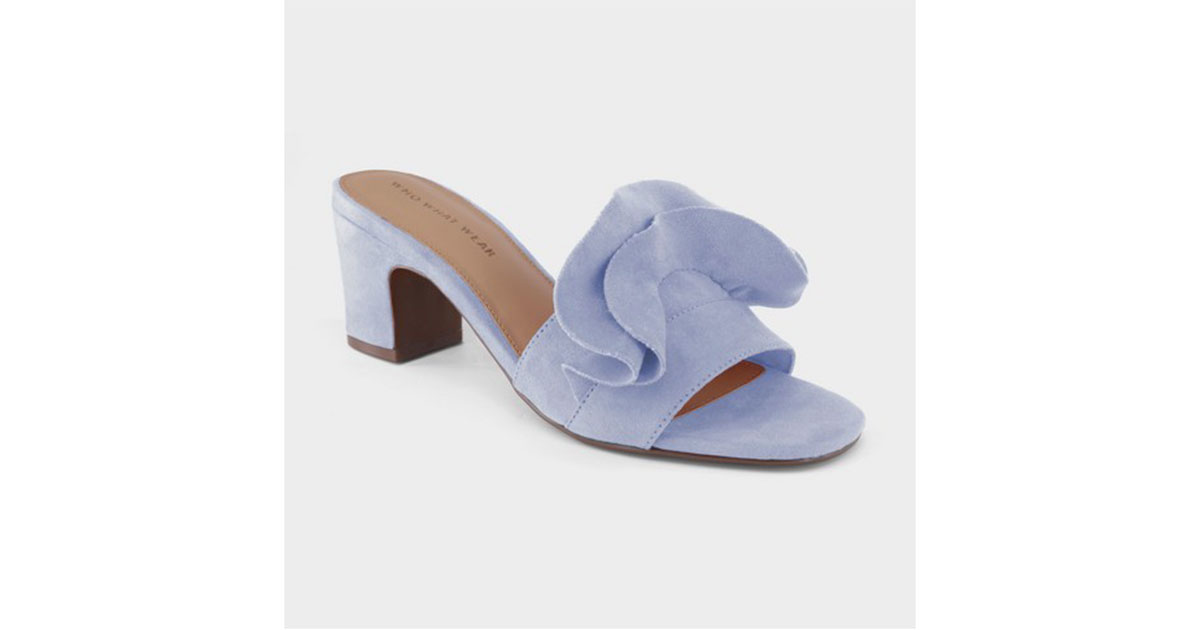 Ruffle Heeled Slide Sandals