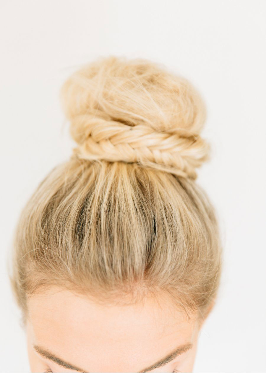 Fishtail Braid-Wrapped Topknot