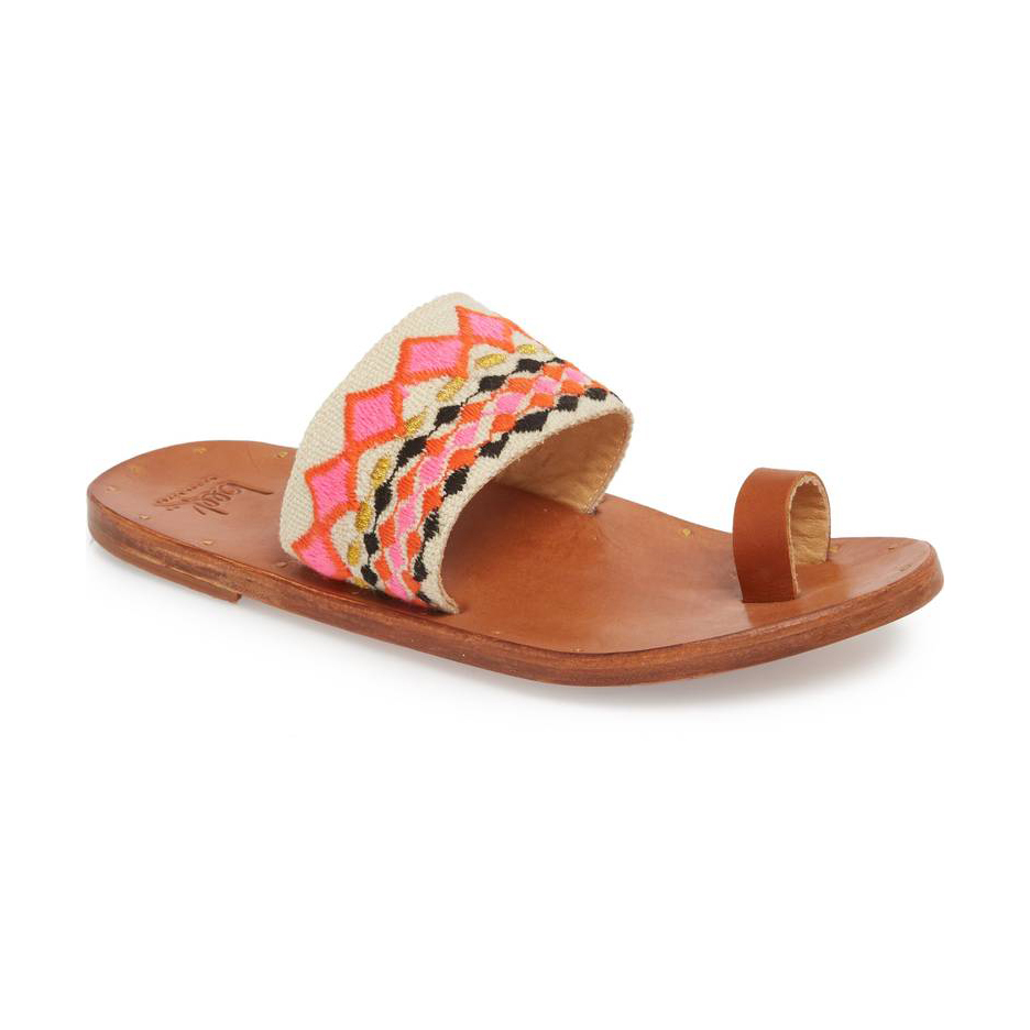Beek Dove sandal in Fuchsia/Tan