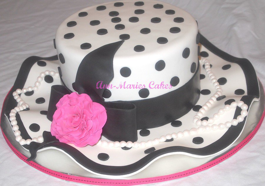 Polka Dot and Pearls Derby Hat Cake