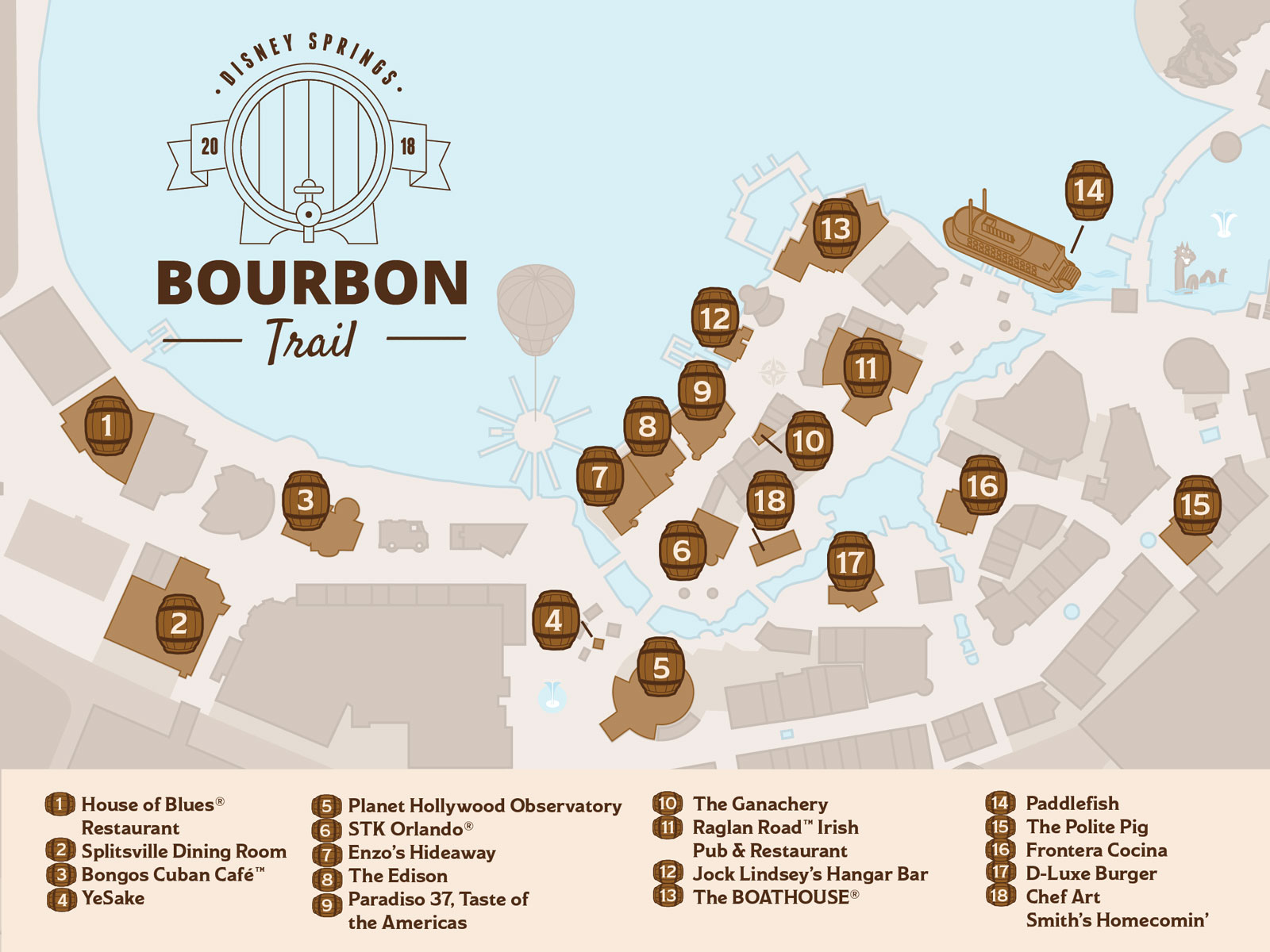 There's a Bourbon Trail Through Disney World This Summer disney-springs-bourbon-trail-map-FT-BLOG0418