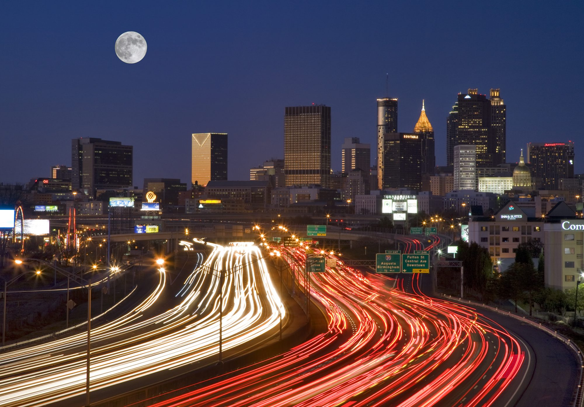 Atlanta Skyline Traffic at Night