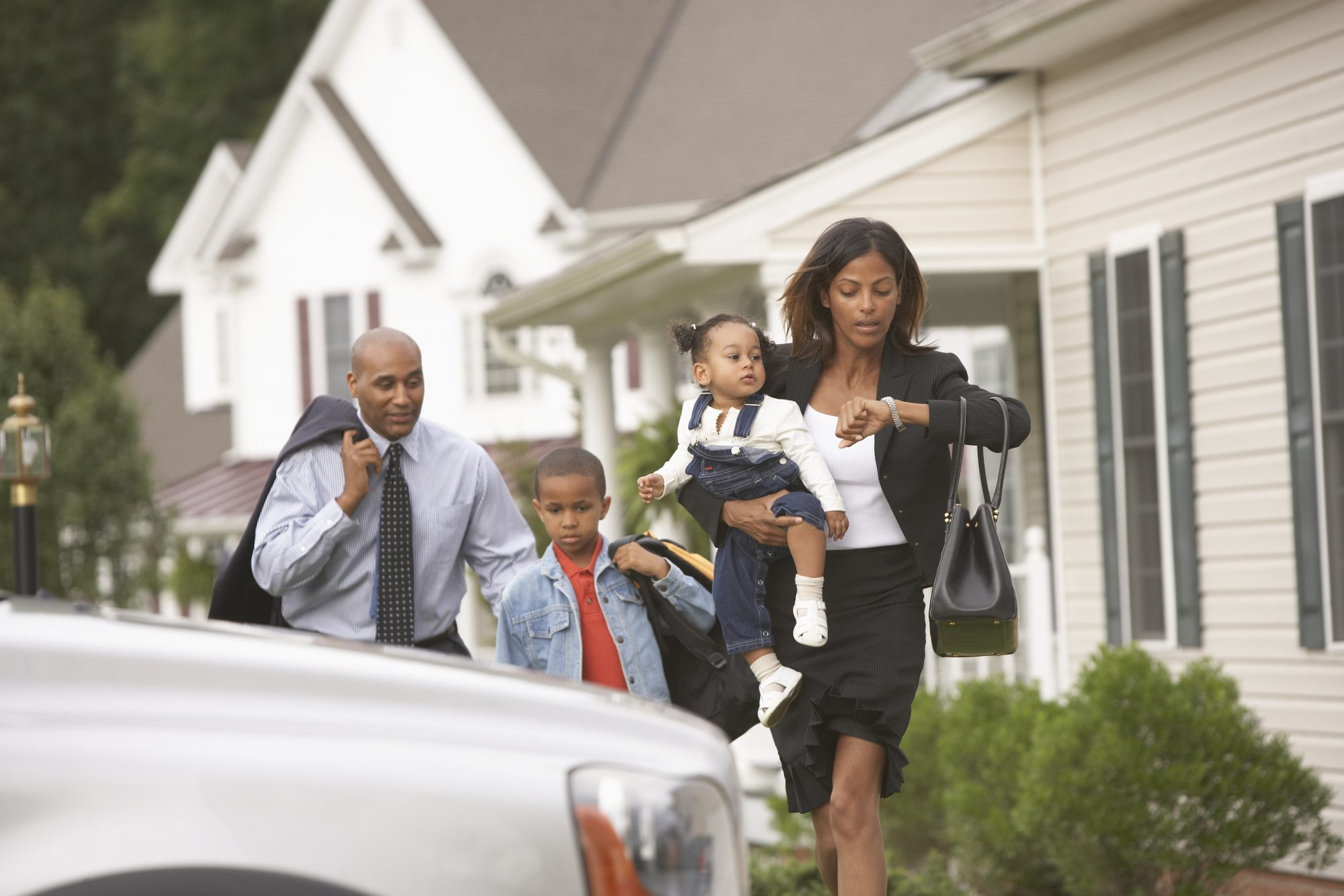 Family Running Late for Work and School
