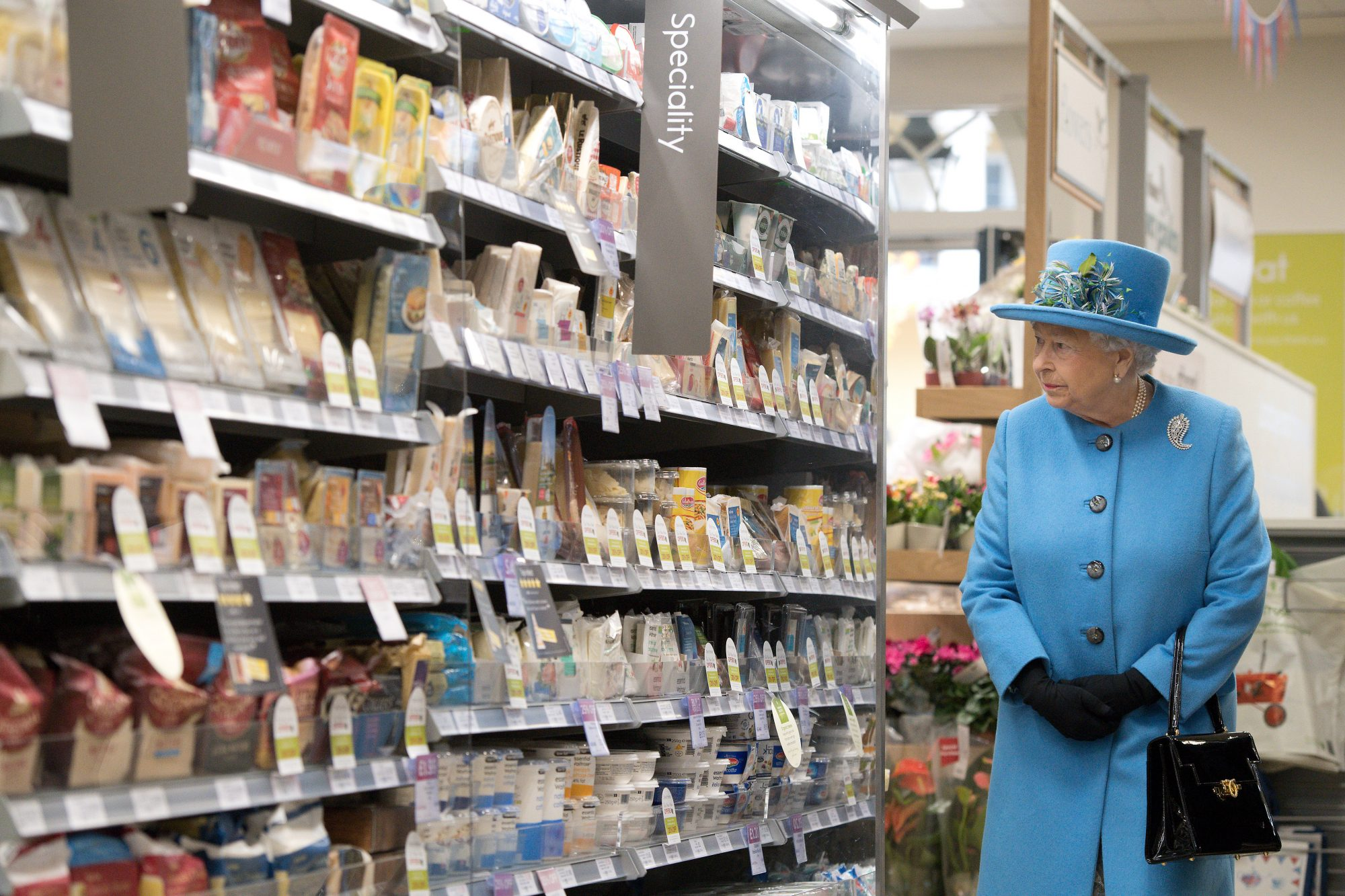 Queen Elizabeth at Waitrose Supermarket