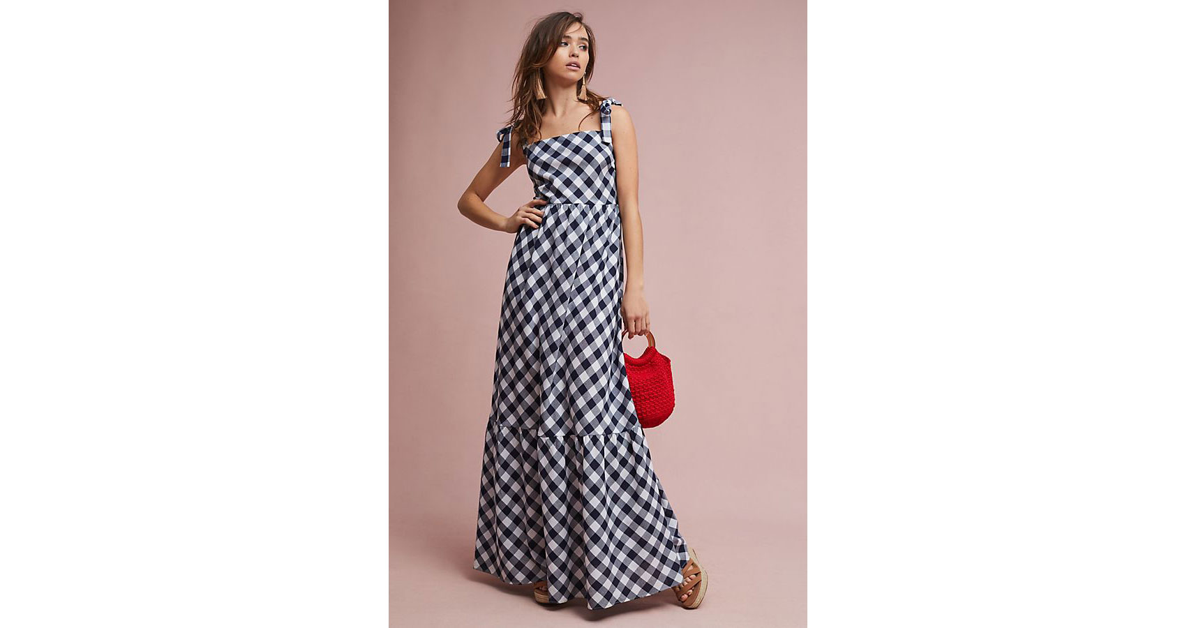 Tiered Gingham Maxi Dress