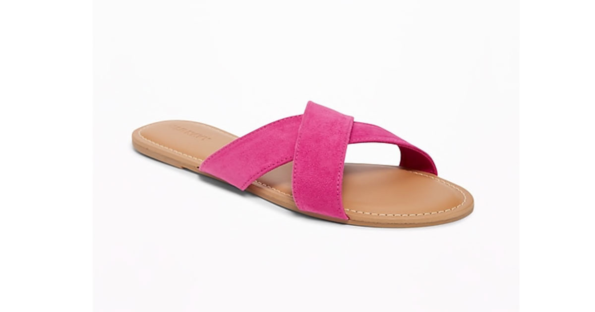 Sueded Cross-Strap Slide Sandals